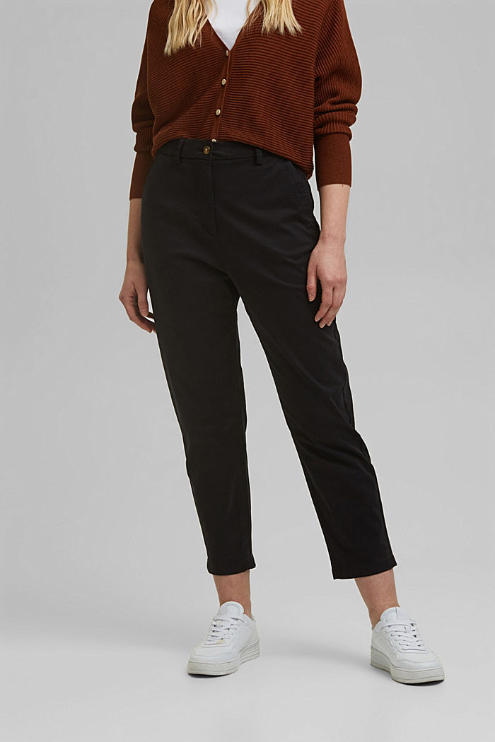 TENCEL™: Stretch chinos with a high waistband, BLACK, detail image number 0