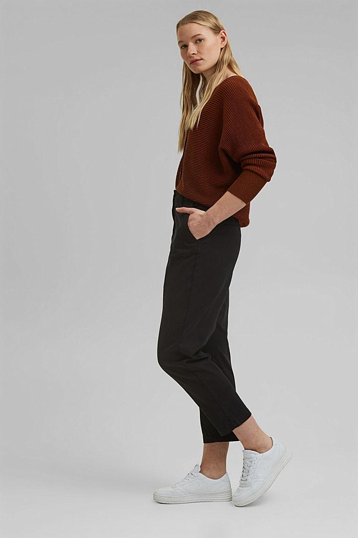 TENCEL™: Stretch-Chino mit hohem Bund, BLACK, detail image number 1