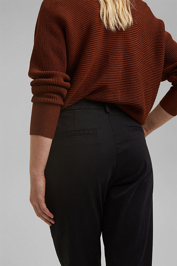 TENCEL™: Stretch chinos with a high waistband, BLACK, detail image number 5