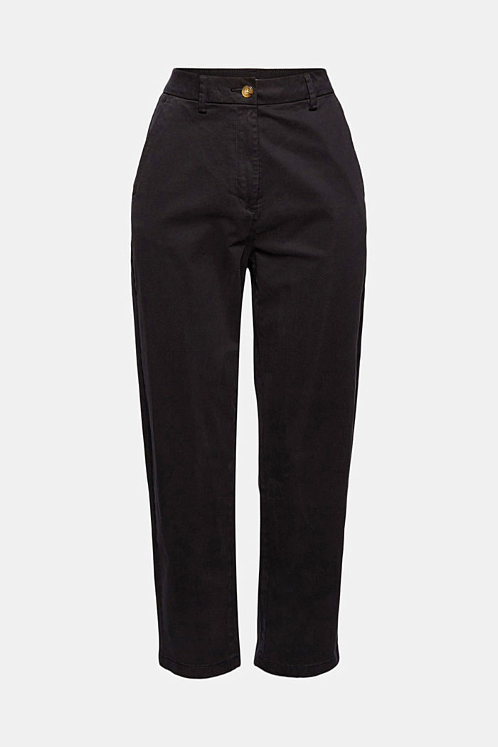 TENCEL™: Stretch chinos with a high waistband, BLACK, detail image number 6