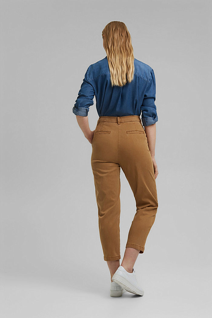 TENCEL™: Stretch chinos with a high waistband, CAMEL, detail image number 3