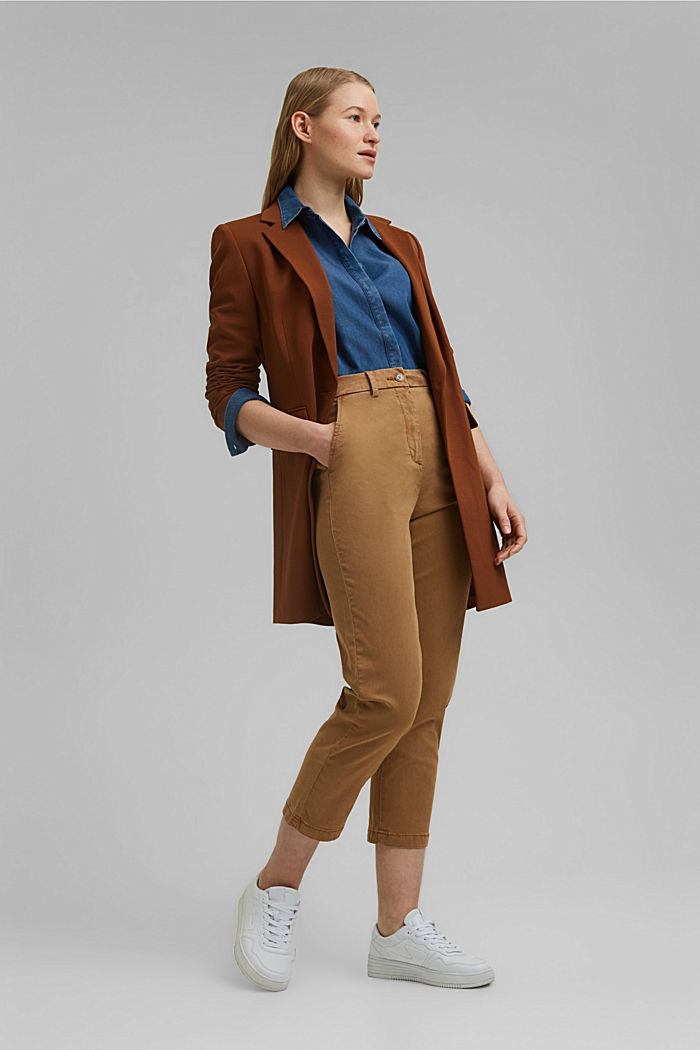 TENCEL™: Stretch chinos with a high waistband, CAMEL, detail image number 1