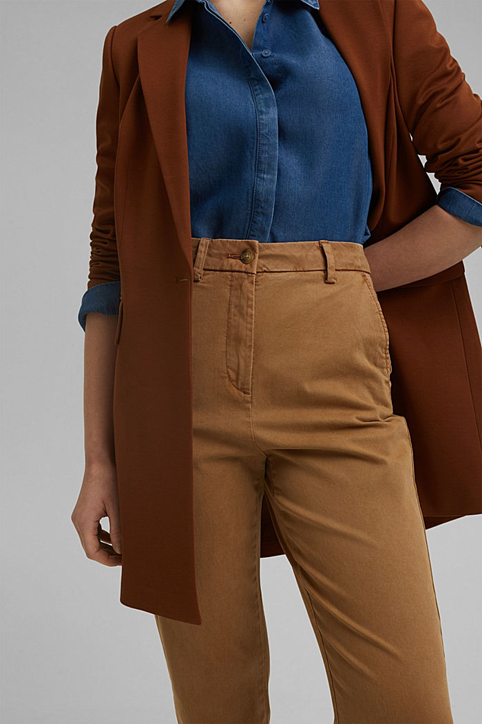 TENCEL™: Stretch chinos with a high waistband, CAMEL, detail image number 2