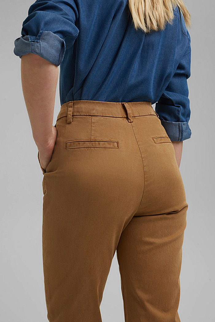 TENCEL™: Stretch chinos with a high waistband, CAMEL, detail image number 5