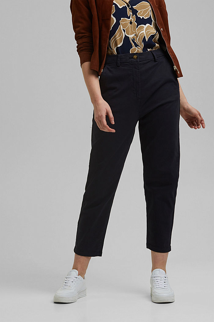 TENCEL™: Stretch chinos with a high waistband, NAVY, detail image number 0