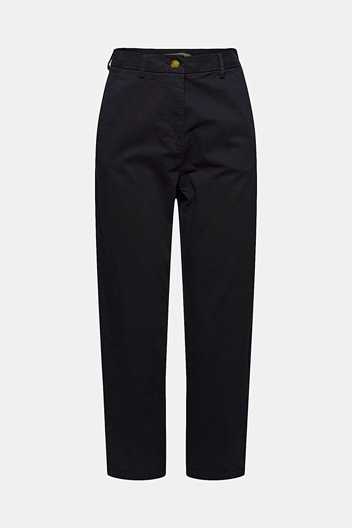 TENCEL™: Stretch chinos with a high waistband, NAVY, detail image number 6