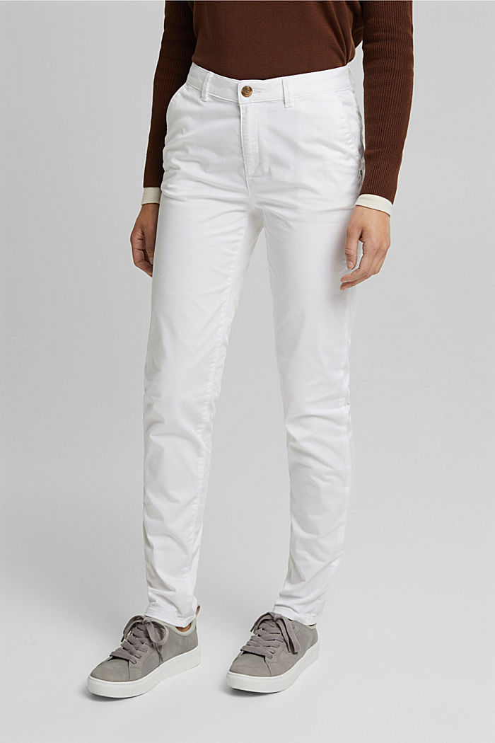 Stretch chinos with organic cotton, WHITE, detail image number 0