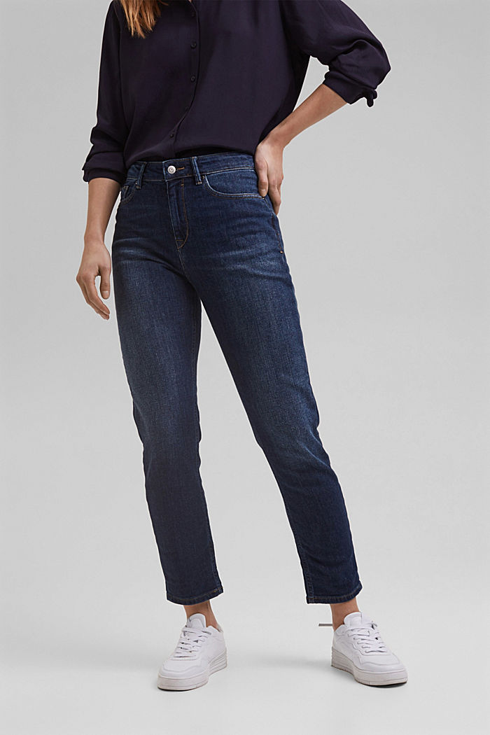 Organic cotton cropped jeans, BLUE DARK WASHED, detail image number 0