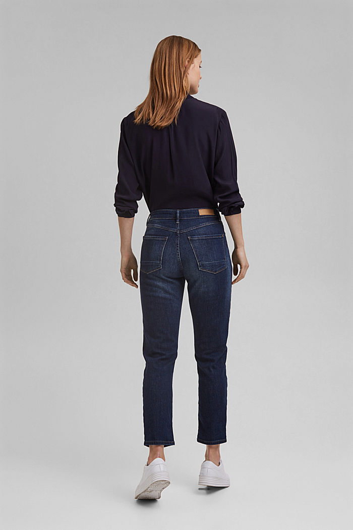 Organic cotton cropped jeans, BLUE DARK WASHED, detail image number 3
