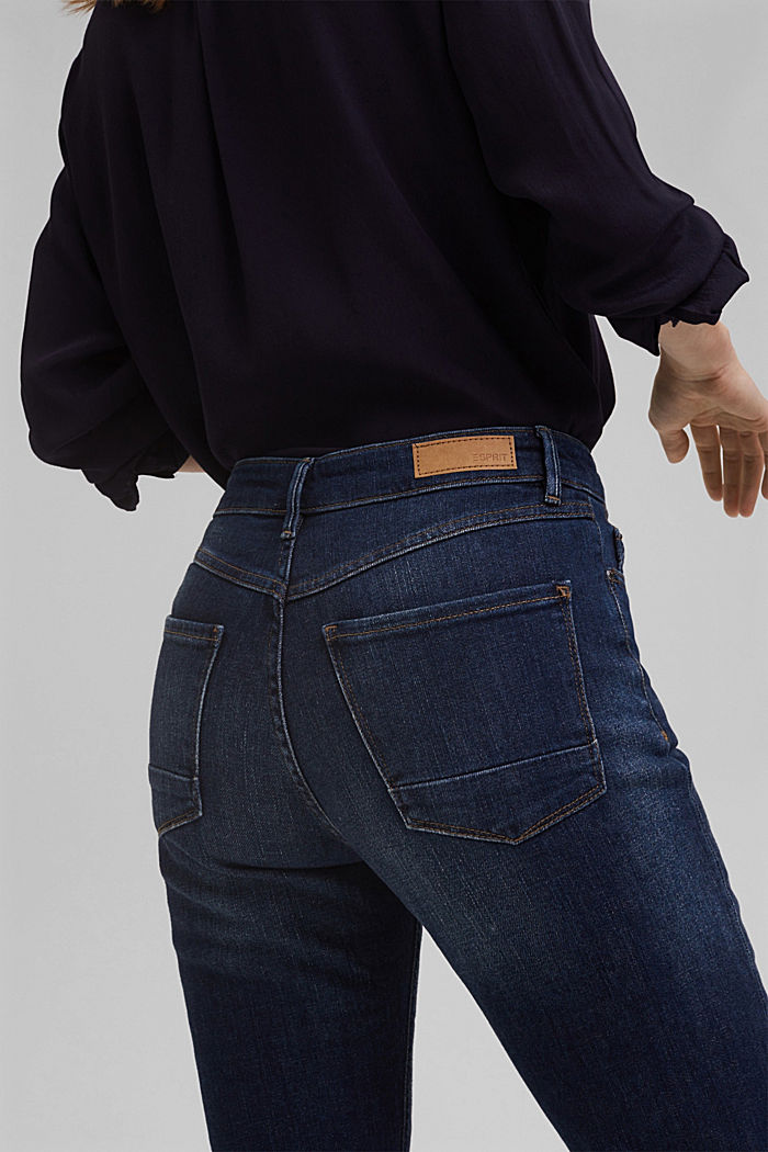Organic cotton cropped jeans, BLUE DARK WASHED, detail image number 4