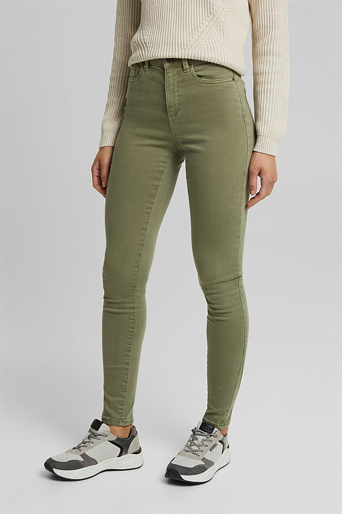 Jeans modellanti con cotone biologico, LIGHT KHAKI, overview