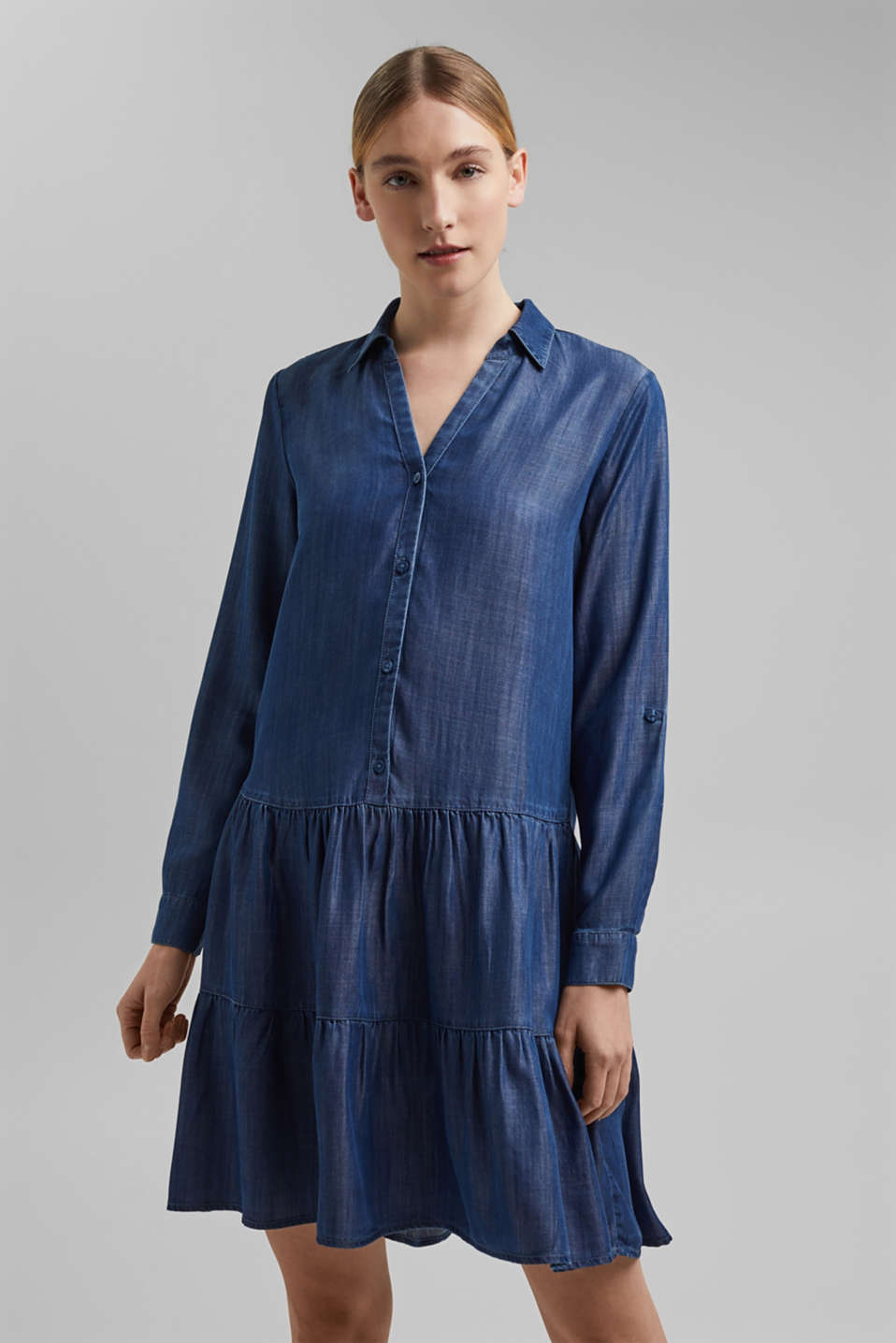 Esprit - In TENCEL™: abito in denim con volant