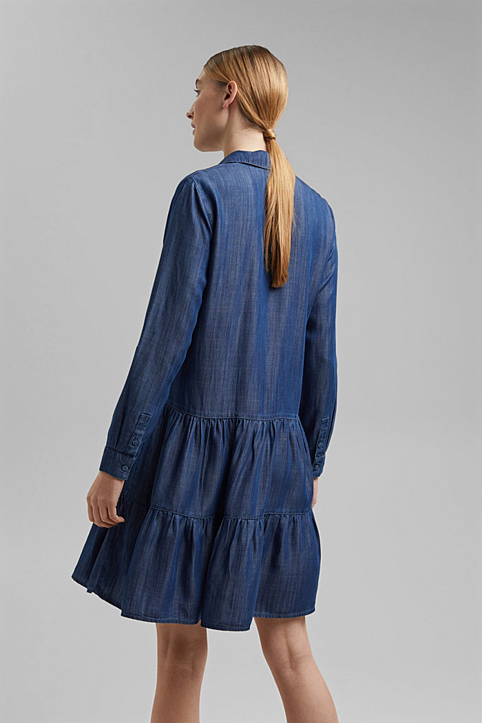 In TENCEL™: abito in denim con volant, BLUE DARK WASHED, detail image number 2