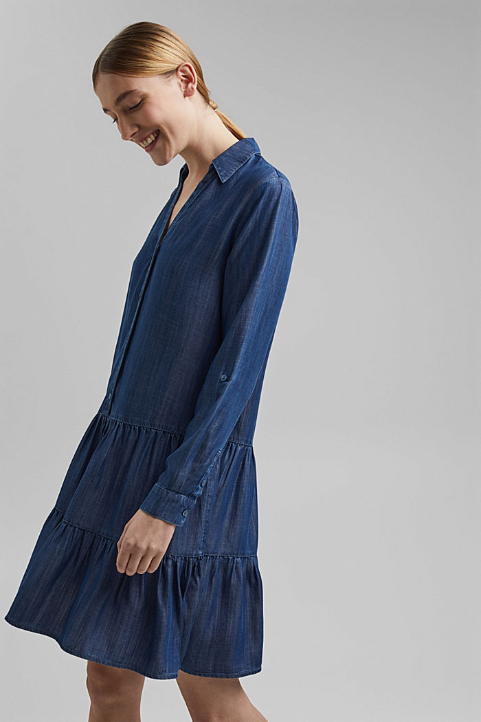 In TENCEL™: abito in denim con volant, BLUE DARK WASHED, detail image number 5