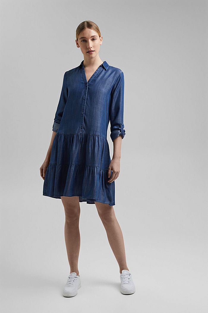 In TENCEL™: abito in denim con volant, BLUE DARK WASHED, detail image number 1