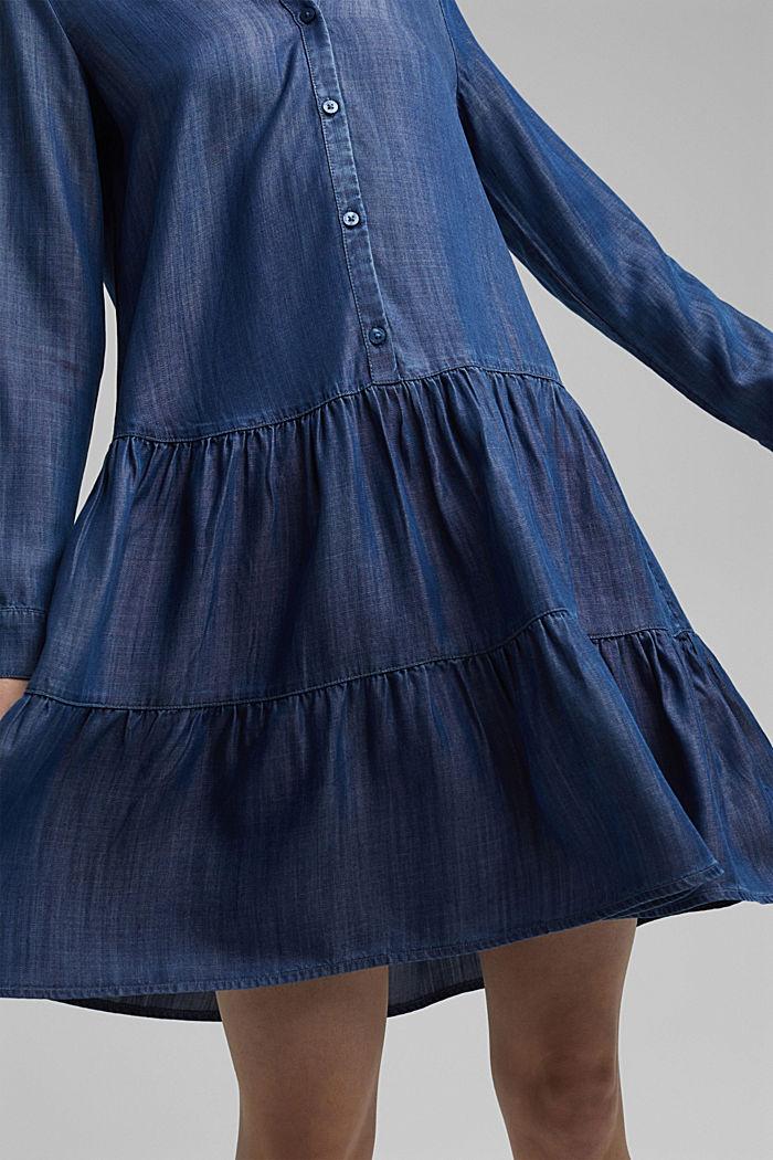 Aus TENCEL™: Denim-Kleid mit Volants, BLUE DARK WASHED, detail image number 3