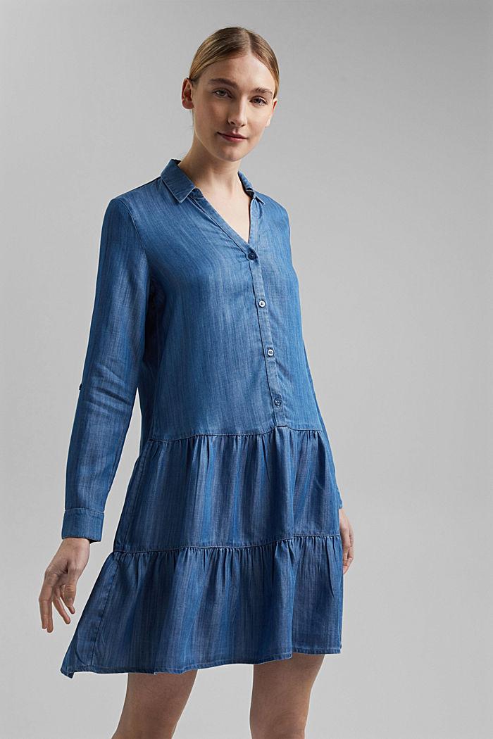 Aus TENCEL™: Denim-Kleid mit Volants, BLUE MEDIUM WASHED, detail image number 6