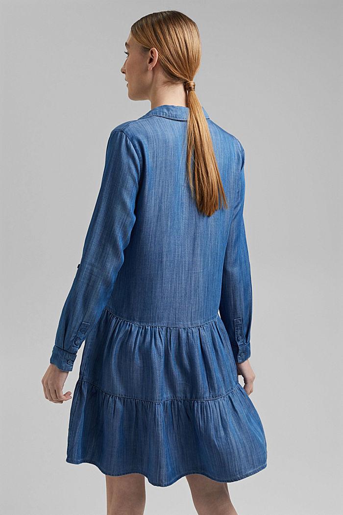 Made of TENCEL™: Denim dress with flounces, BLUE MEDIUM WASHED, detail image number 2