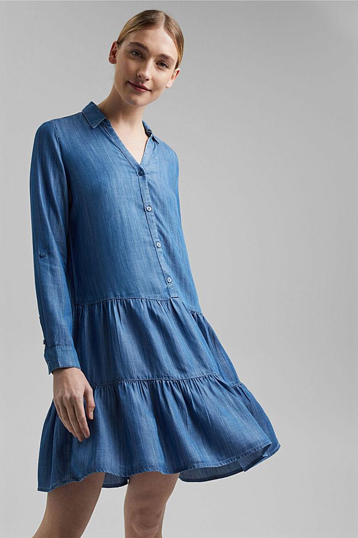 Made of TENCEL™: Denim dress with flounces, BLUE MEDIUM WASHED, detail image number 5