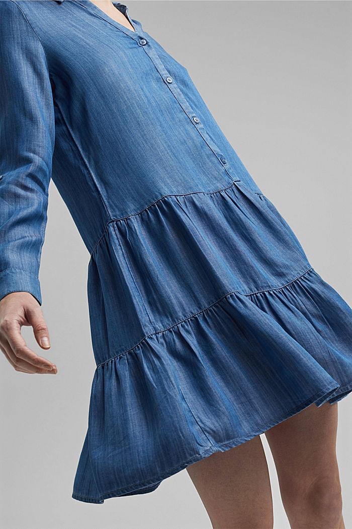 Made of TENCEL™: Denim dress with flounces, BLUE MEDIUM WASHED, detail image number 3