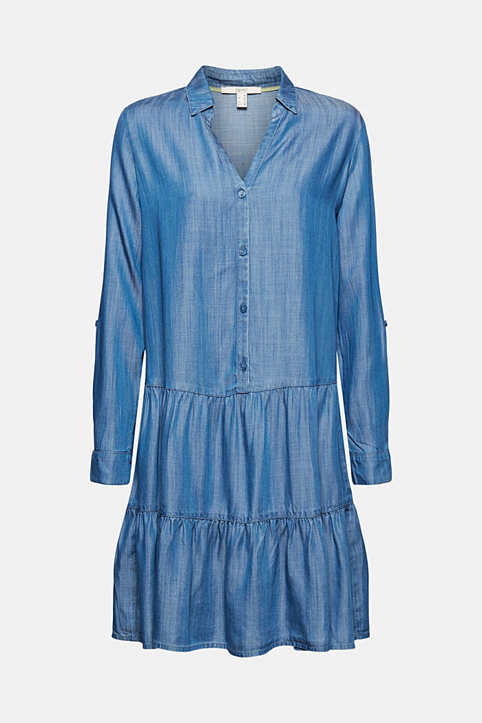 Aus TENCEL™: Denim-Kleid mit Volants