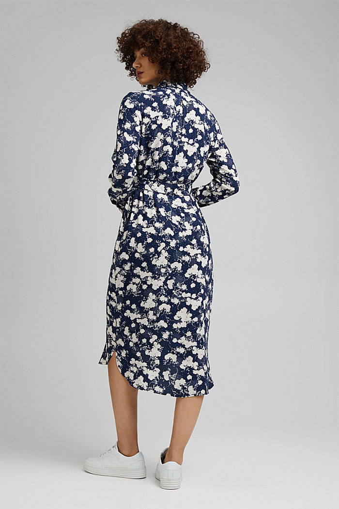 Shirt dress with a modern floral print, NAVY, detail image number 1