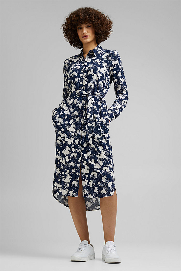 Shirt dress with a modern floral print, NAVY, detail image number 0