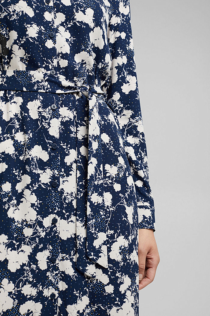 Shirt dress with a modern floral print, NAVY, detail image number 4