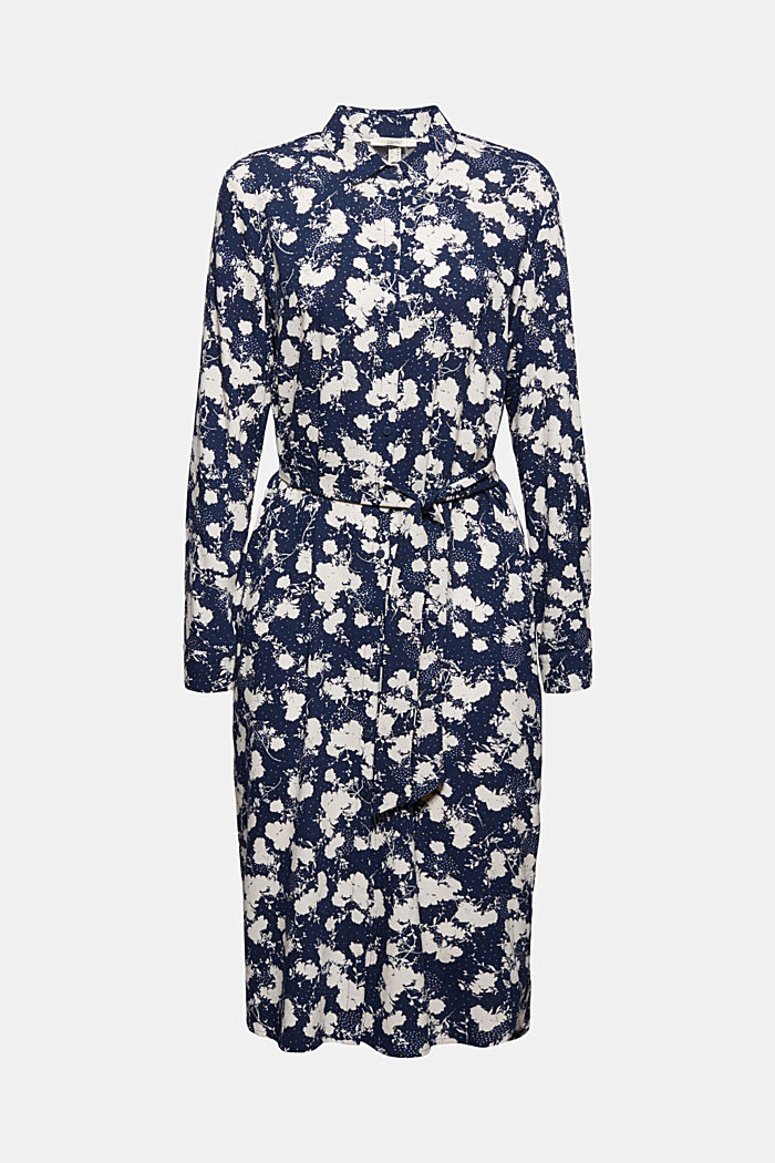Shirt dress with a modern floral print