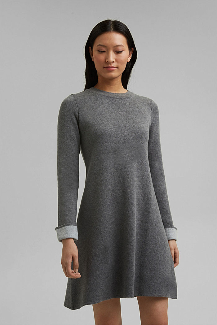 Double-faced knitted dress, 100% organic cotton, GUNMETAL, detail image number 0