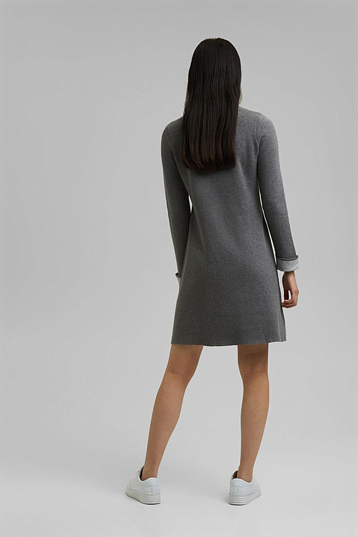 Double-faced knitted dress, 100% organic cotton, GUNMETAL, detail image number 2