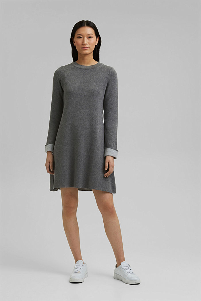 Double-faced knitted dress, 100% organic cotton, GUNMETAL, detail image number 1