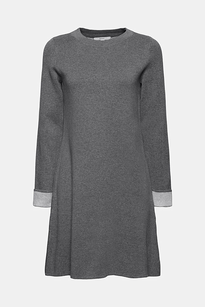Double-faced knitted dress, 100% organic cotton, GUNMETAL, detail image number 5