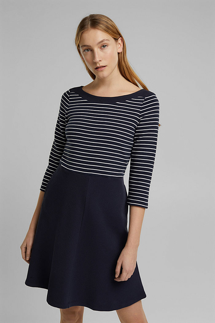 Recycled: jersey dress containing organic cotton, NAVY, detail image number 0