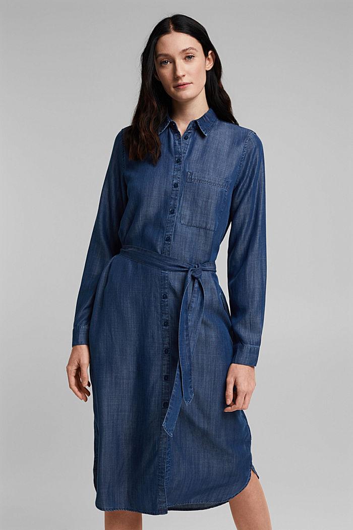 Aus TENCEL™: Kleid in Denim-Optik, BLUE DARK WASHED, detail image number 0