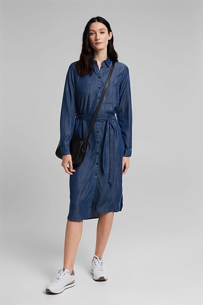 Aus TENCEL™: Kleid in Denim-Optik, BLUE DARK WASHED, detail image number 1