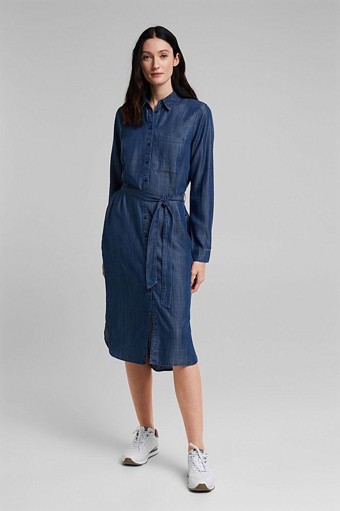 Aus TENCEL™: Kleid in Denim-Optik, BLUE DARK WASHED, detail image number 6