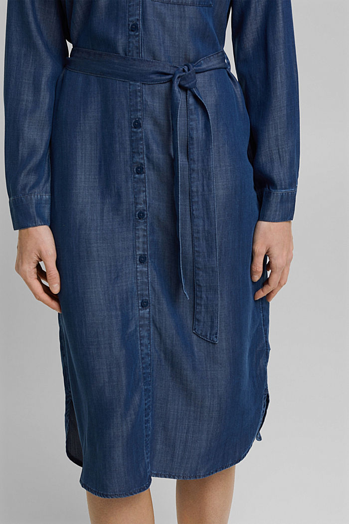 Aus TENCEL™: Kleid in Denim-Optik, BLUE DARK WASHED, detail image number 3