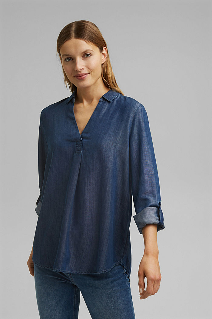 Aus TENCEL™ Lyocell: Denim-Bluse, BLUE DARK WASHED, detail image number 0