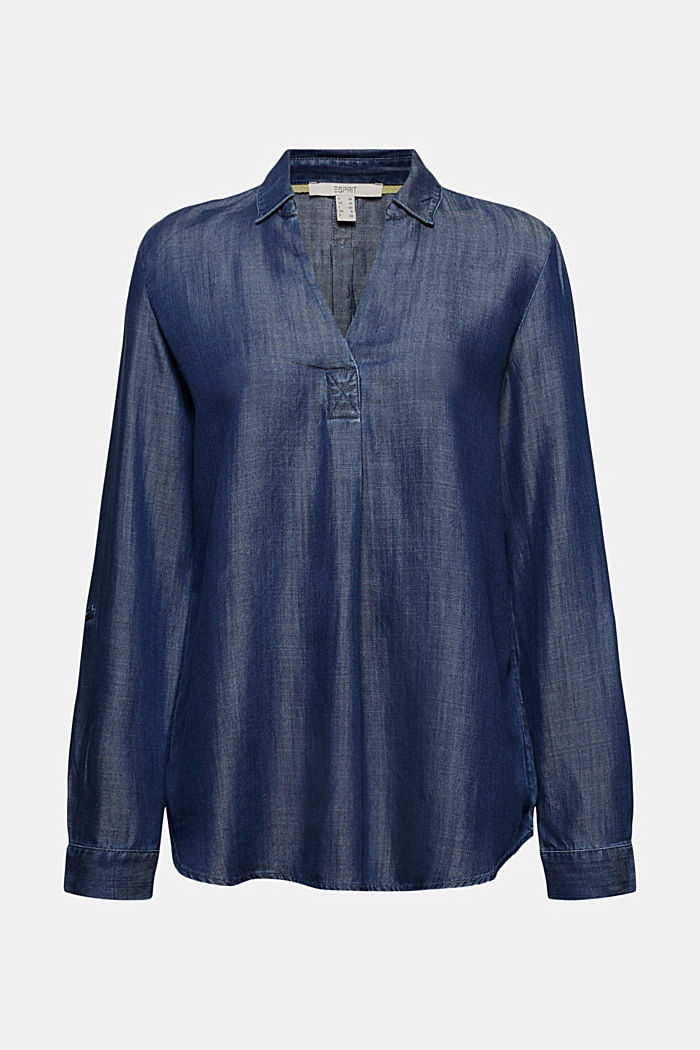 Aus TENCEL™ Lyocell: Denim-Bluse, BLUE DARK WASHED, detail image number 6