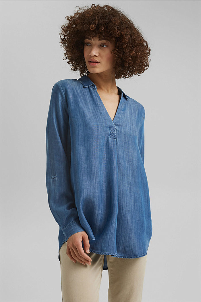 In TENCEL™ Lyocell: blusa di jeans, BLUE MEDIUM WASHED, detail image number 0