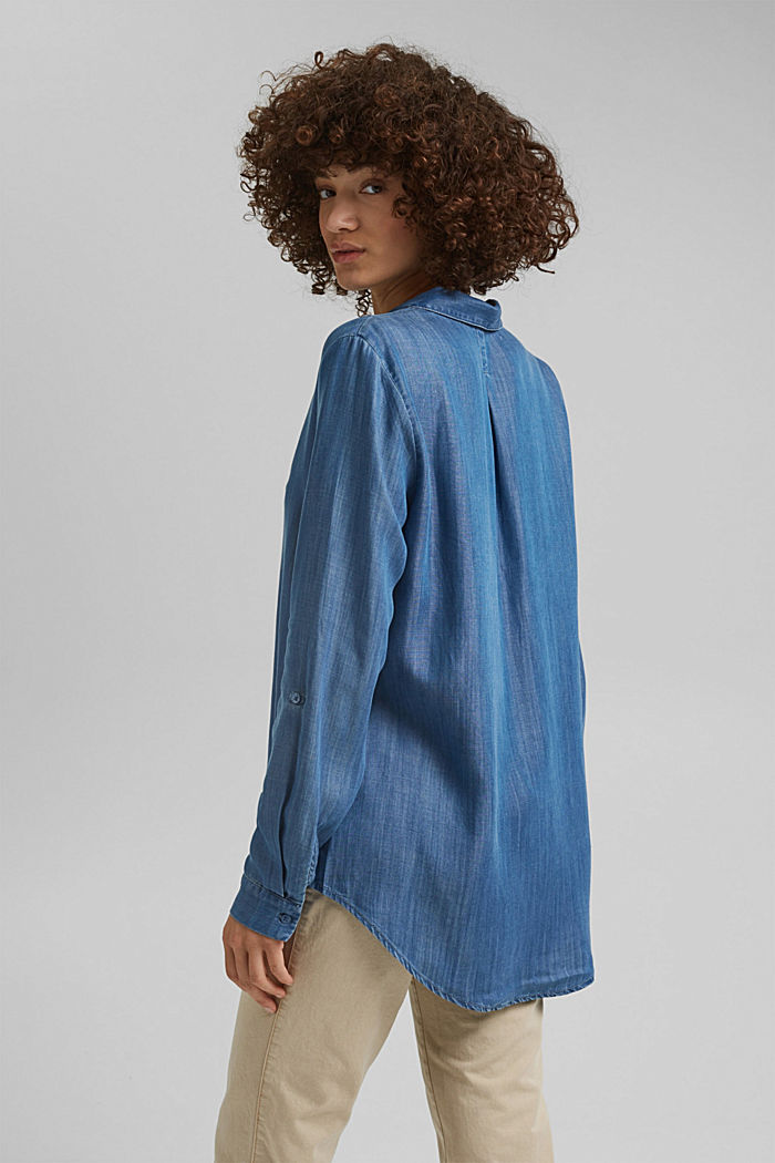 In TENCEL™ Lyocell: blusa di jeans, BLUE MEDIUM WASHED, detail image number 3