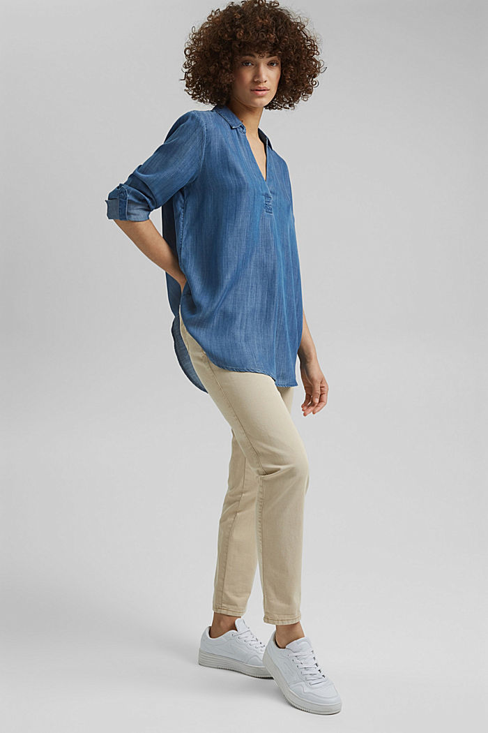 In TENCEL™ Lyocell: blusa di jeans, BLUE MEDIUM WASHED, detail image number 1