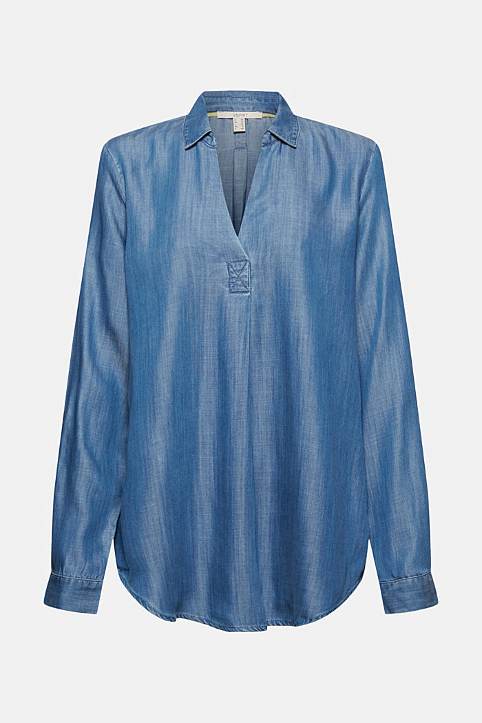 In TENCEL™ Lyocell: blusa di jeans, BLUE MEDIUM WASHED, detail image number 7