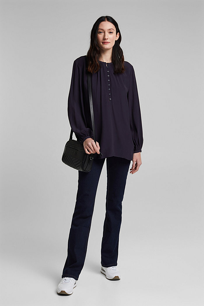 Wide tunic blouse, NAVY, detail image number 1