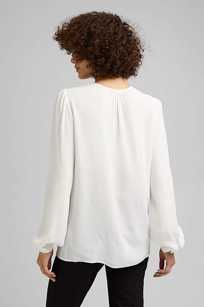 Finely textured blouse made of LENZING™ ECOVERO™, OFF WHITE, detail image number 3