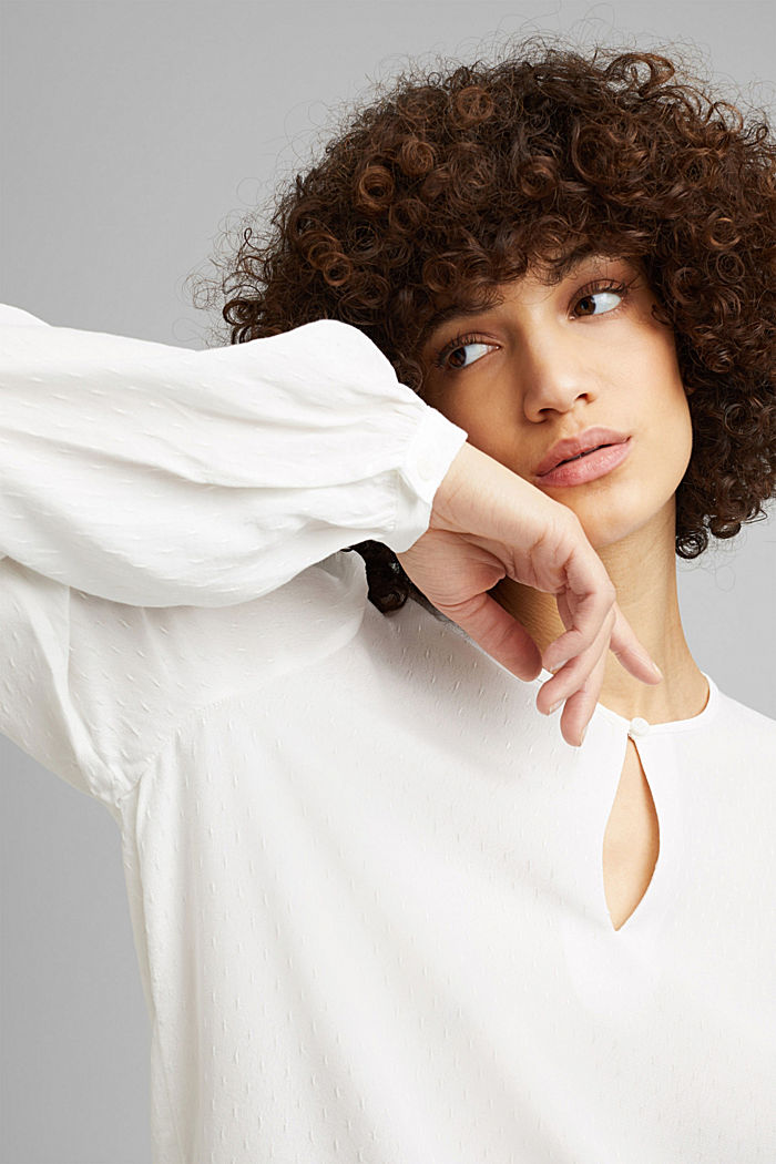 Finely textured blouse made of LENZING™ ECOVERO™, OFF WHITE, detail image number 5