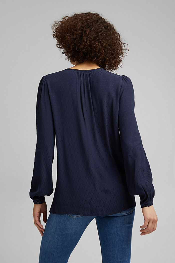 Finely textured blouse made of LENZING™ ECOVERO™, NAVY, detail image number 3