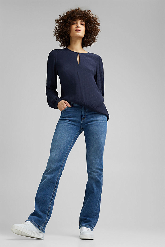 Finely textured blouse made of LENZING™ ECOVERO™, NAVY, detail image number 1
