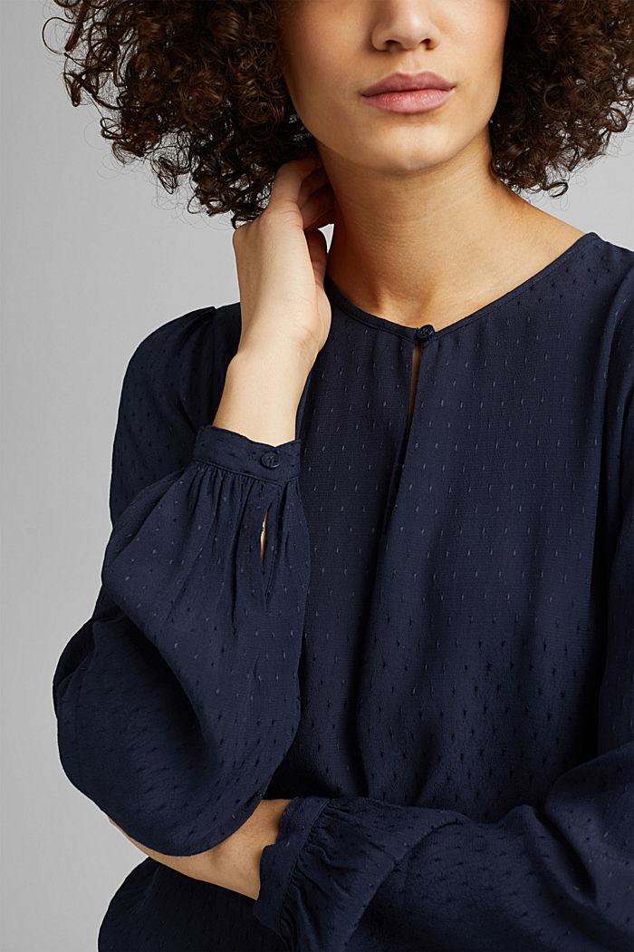 Finely textured blouse made of LENZING™ ECOVERO™, NAVY, detail image number 2